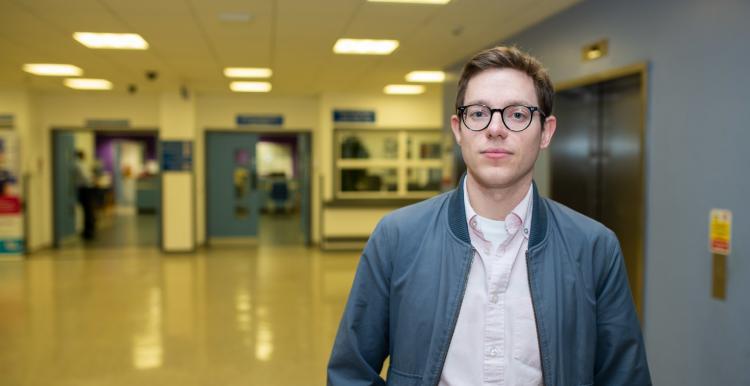 man stood in hospital